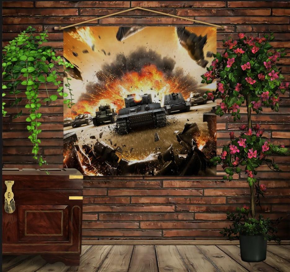 Мобільна картина-постер на тканині з 3D з принтом Танки. Атака