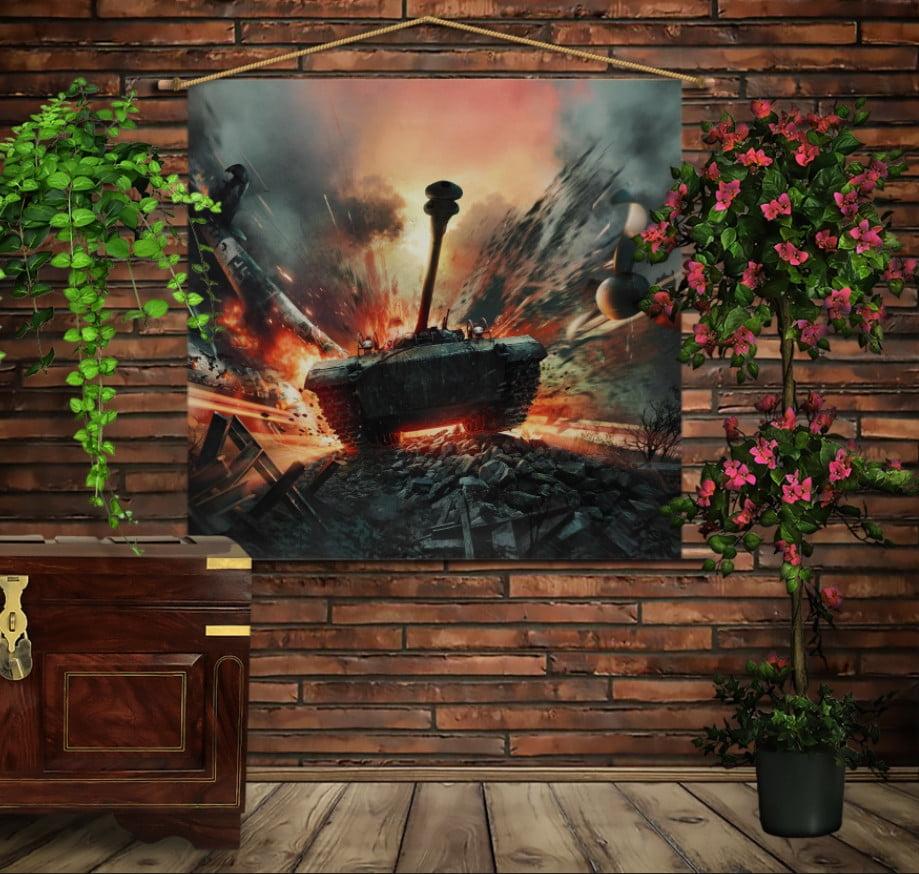Мобільна картина-постер на тканині з 3D з принтом War Thunder. Tank