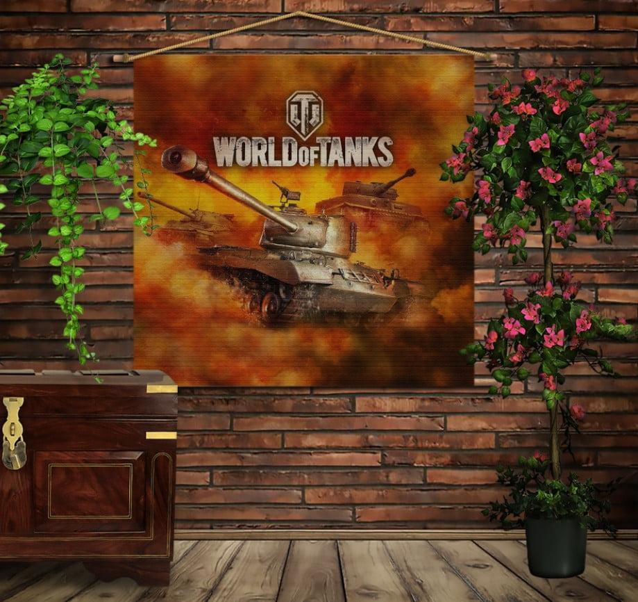 Мобільна картина-постер на тканині з 3D з принтом Tanks Fayker