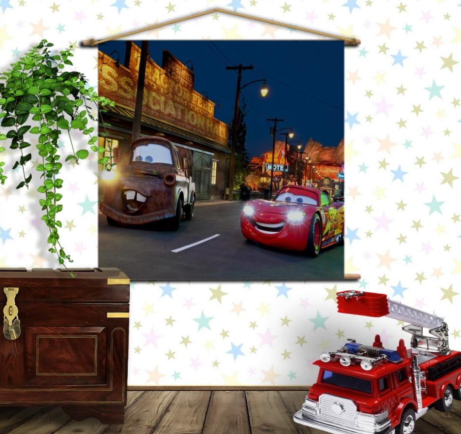 Мобільна картина-постер на тканині з 3D з принтом Cars Макуін і Метр - Тачки