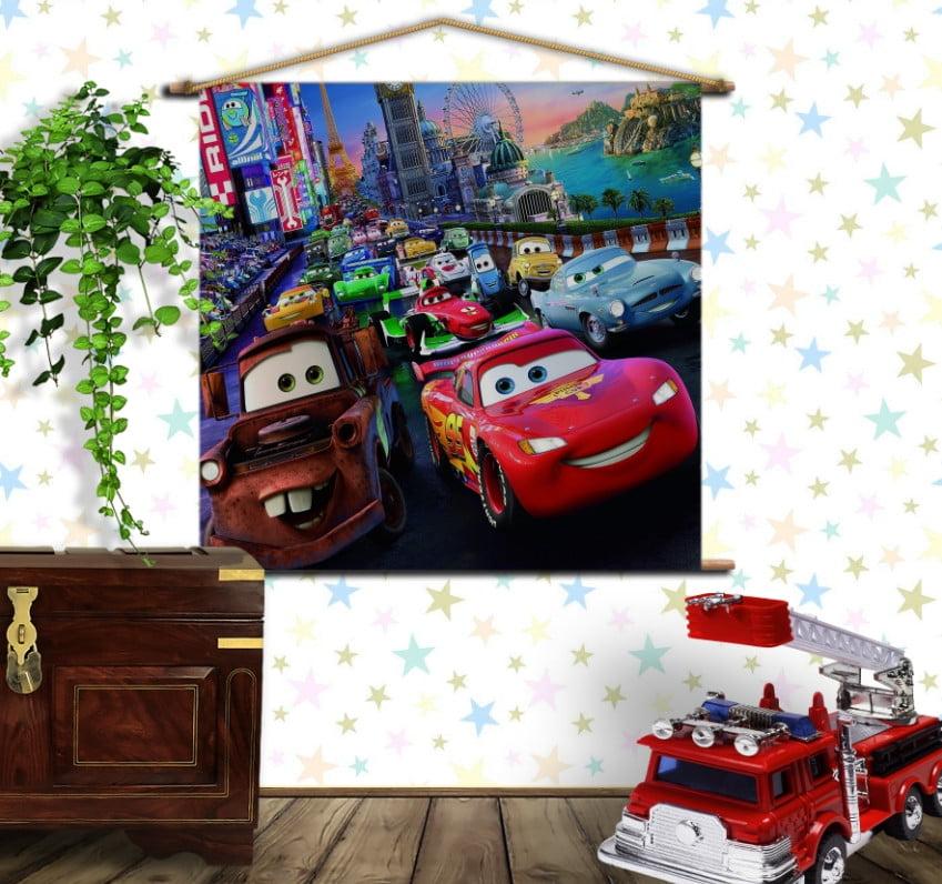 Мобільна картина-постер на тканині з 3D з принтом Тачки на дорозі