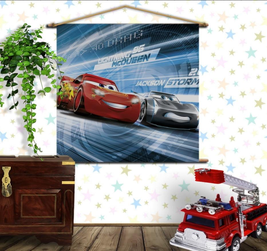 Мобільна картина-постер на тканині з 3D з принтом Cars Тачки Блискавка Маквін та Джексон Шторм