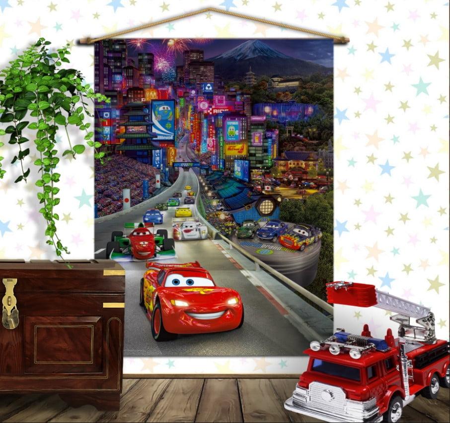 Мобільна картина-постер на тканині з 3D з принтом Тачки. Нічне місто