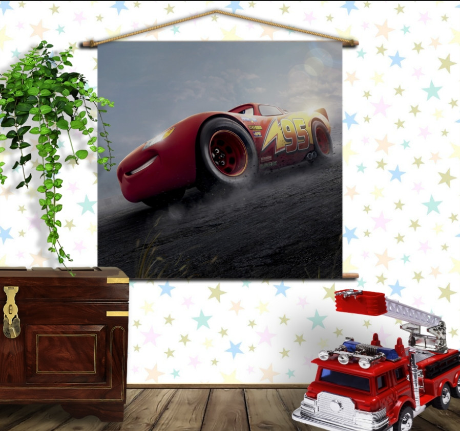 Мобільна картина-постер на тканині з 3D з принтом Cars Тачки Маквін Дрифт