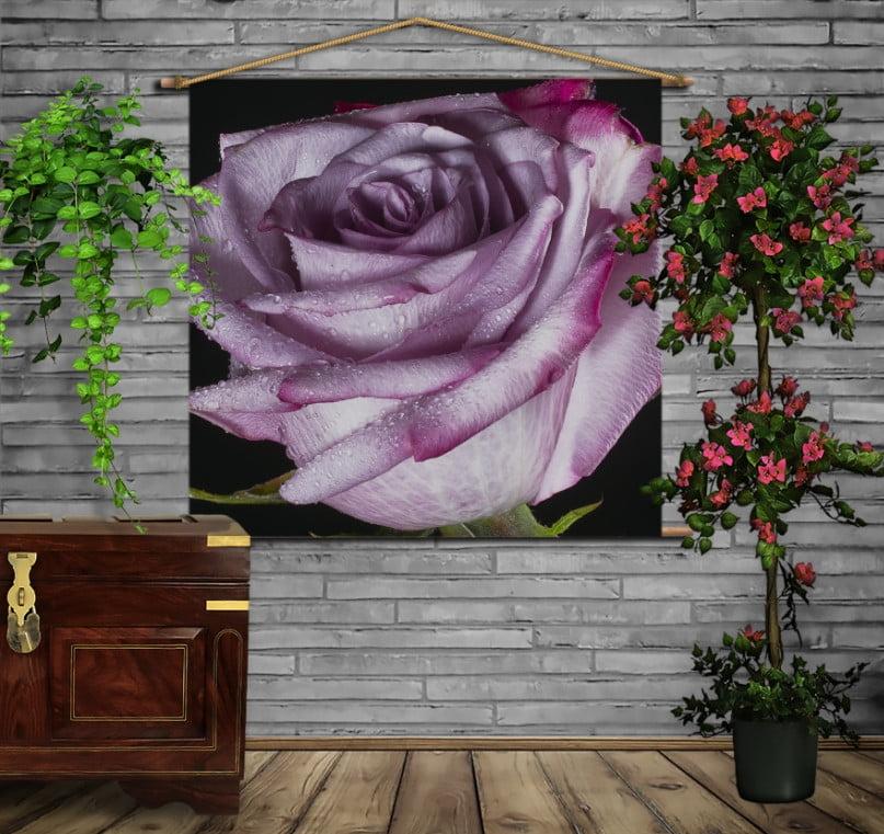 Мобільна картина-постер на тканині з 3D з принтом Тендітна троянда