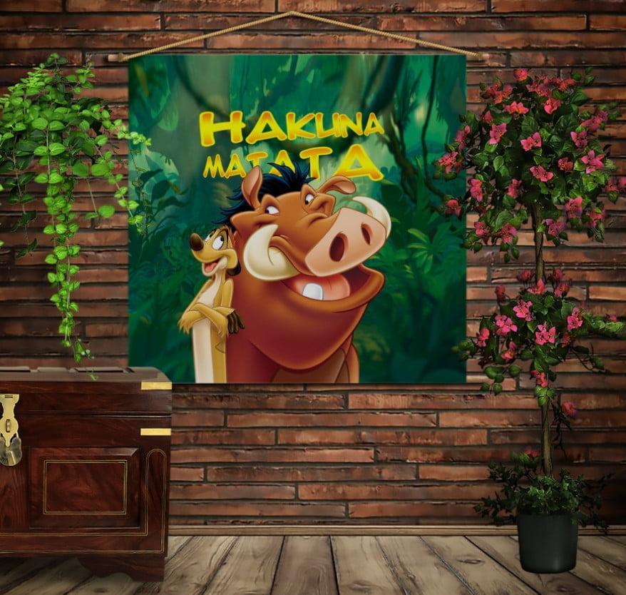 Мобільна картина-постер на тканині з 3D з принтом Акуна Матата