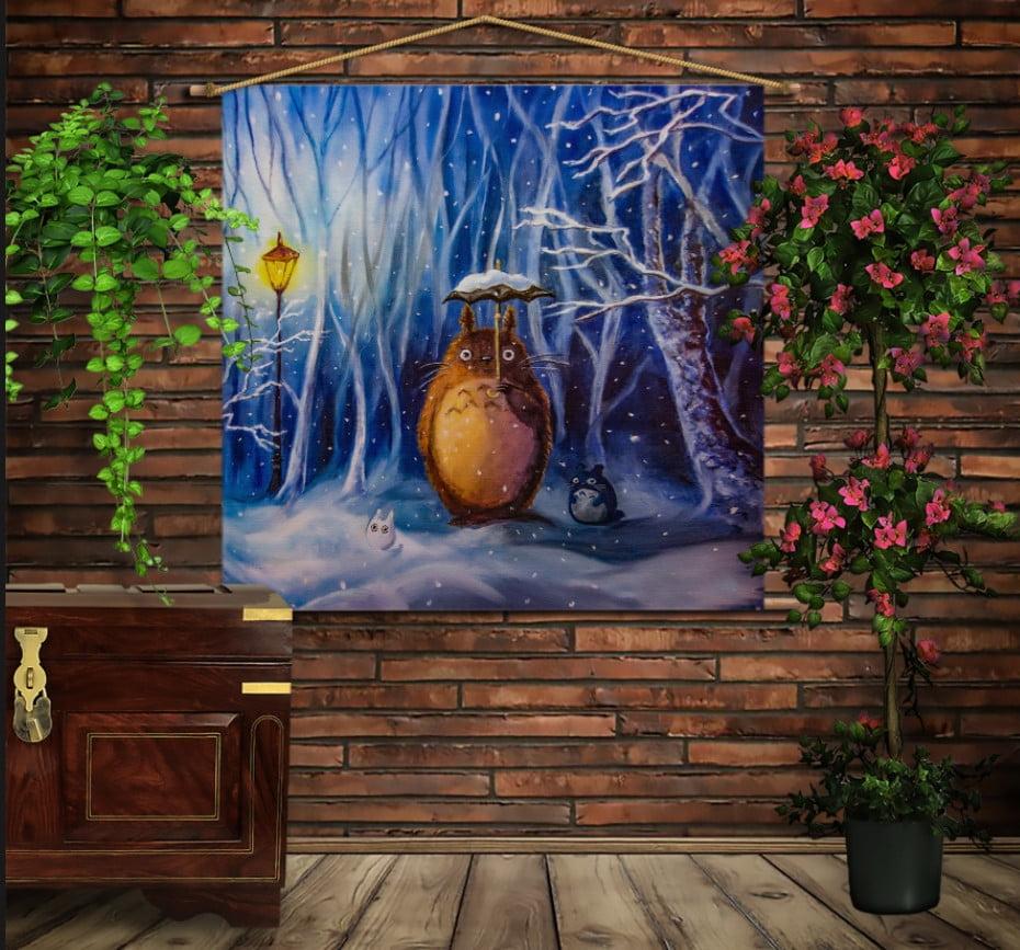 Мобільна картина-постер на тканині з 3D з принтом Тоторо. Зима