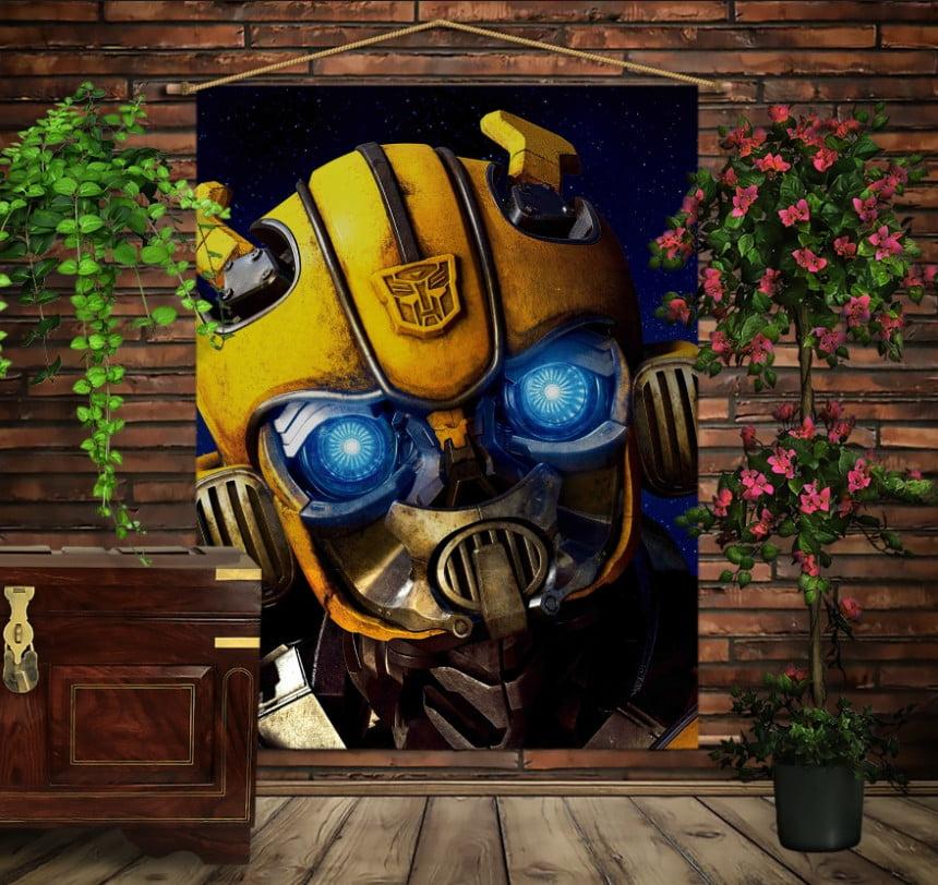 Мобільна картина-постер на тканині з 3D з принтом Трансформери Bumblebee Face