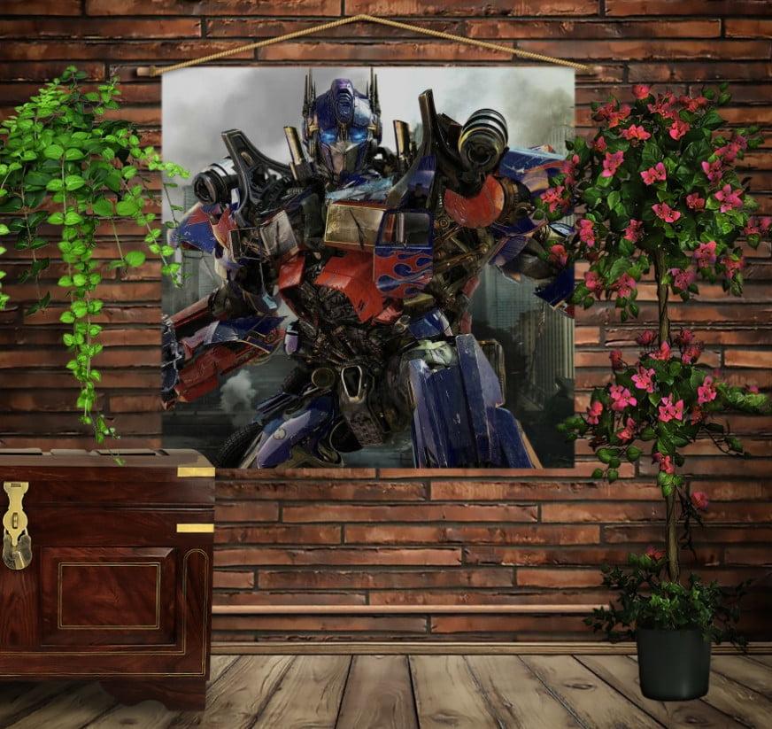 Мобільна картина-постер на тканині з 3D з принтом Трансформери Оптимус Прайм в місті