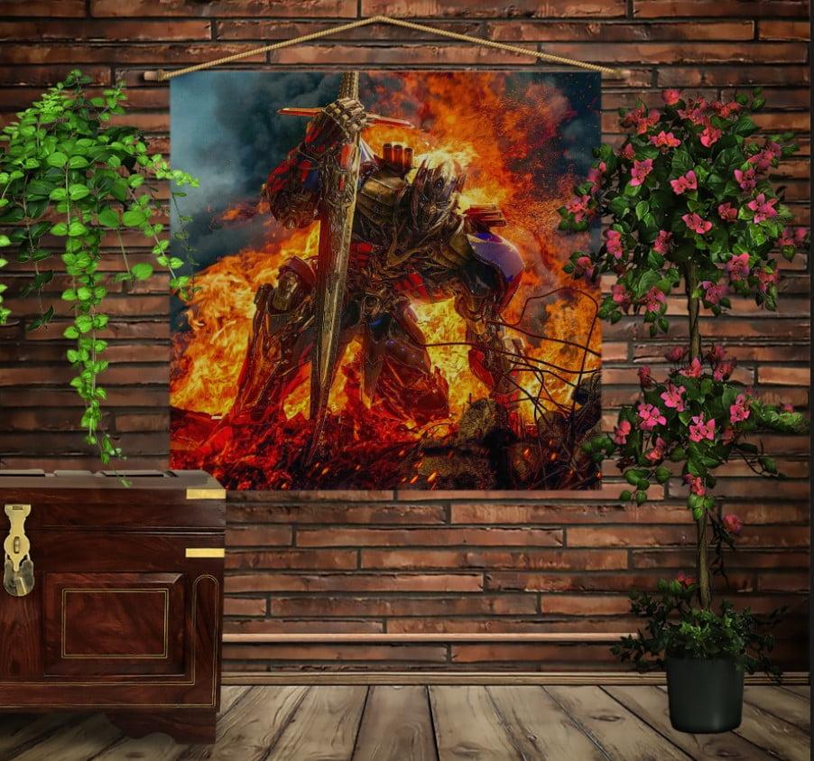 Мобільна картина-постер на тканині з 3D з принтом Трансформерс. Оптимус Прайм у вогні