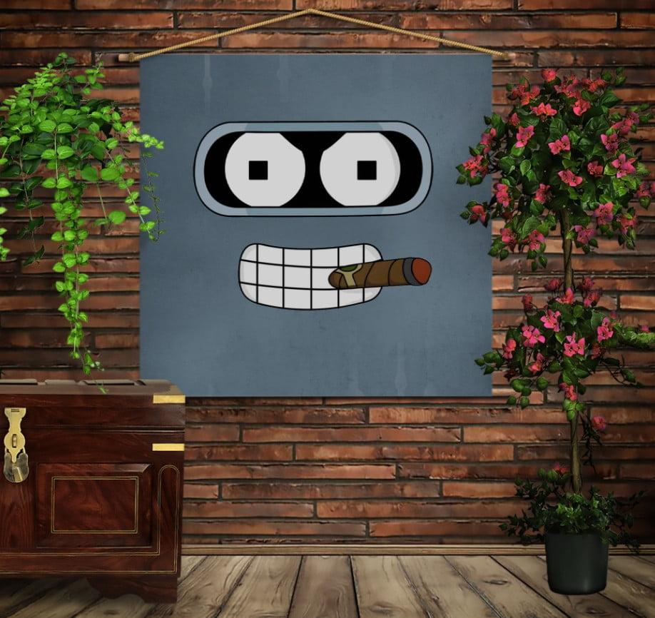 Мобільна картина-постер на тканині з 3D з принтом Футурама