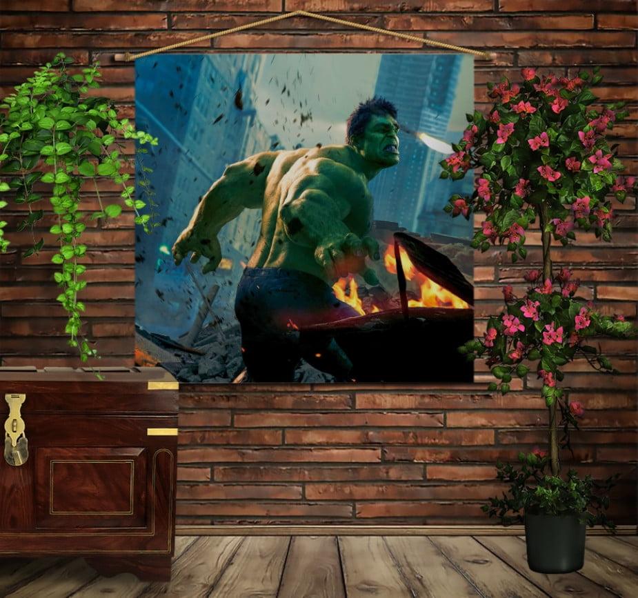Мобільна картина-постер на тканині з 3D з принтом Могутній Халк