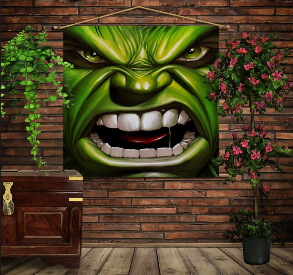 Мобільна картина-постер на тканині з 3D з принтом Халк вільний і злий