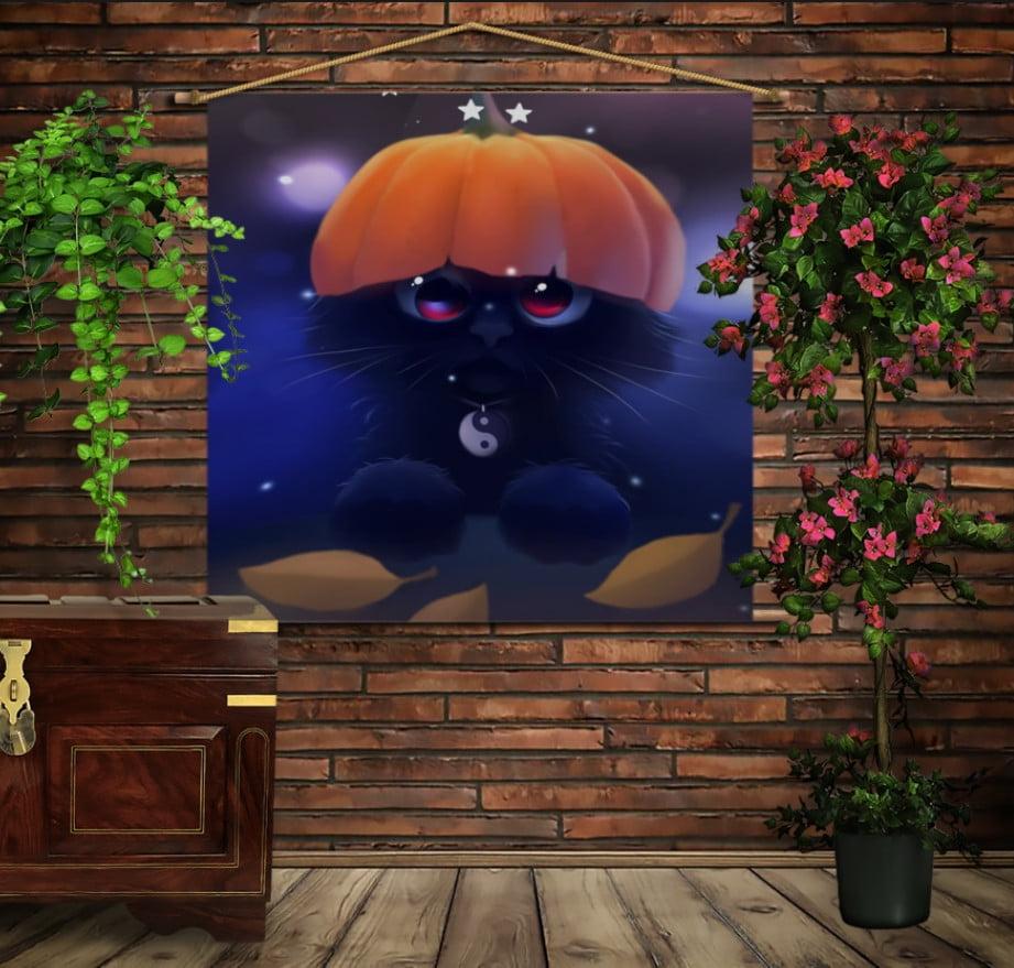 Мобільна картина-постер на тканині з 3D з принтом Геловінський котик