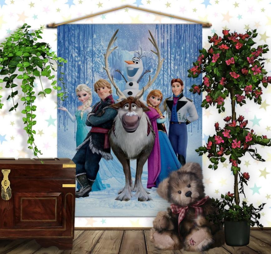 Мобільна картина-постер на тканині з 3D з принтом Frozen. Холодне серце Всі герої