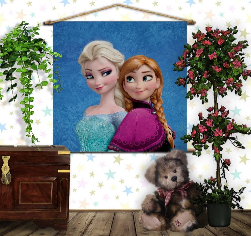 Мобільна картина-постер на тканині з 3D з принтом Frozen Анна і Ельза