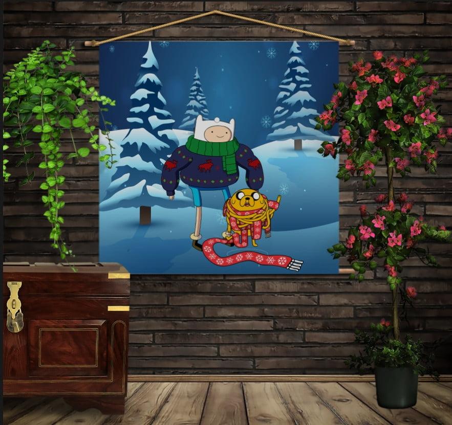 Мобільна картина-постер на тканині з 3D з принтом Час пригод. Різдво