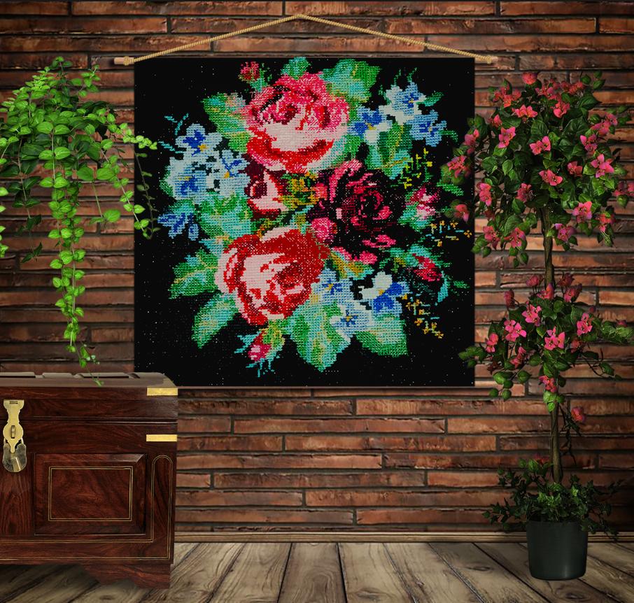 Мобільна картина-постер на тканині з 3D з принтом  Бабусини квіти