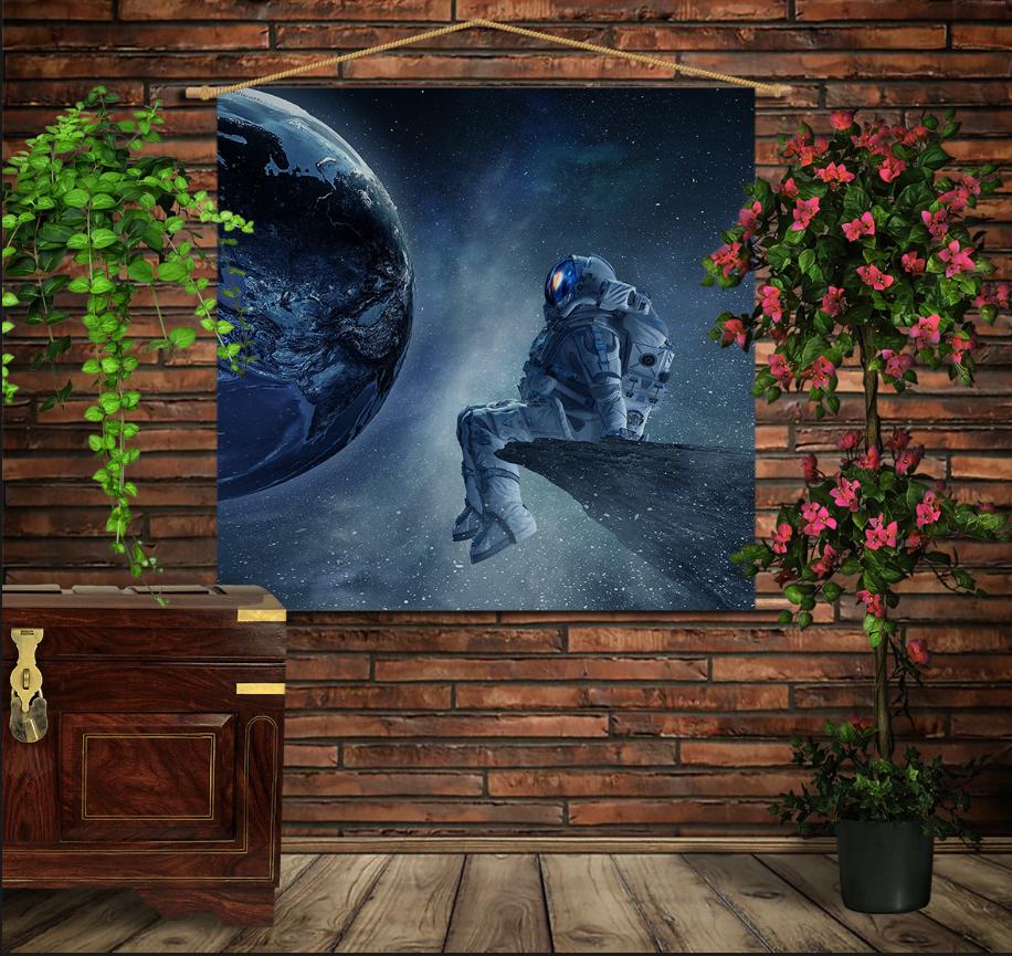 Мобільна картина-постер на тканині з 3D з принтом  Астронавт