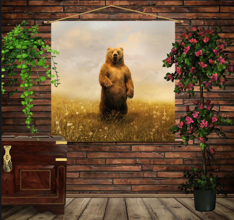 Мобільна картина-постер на тканині з 3D з принтом  Ведмідь в полі