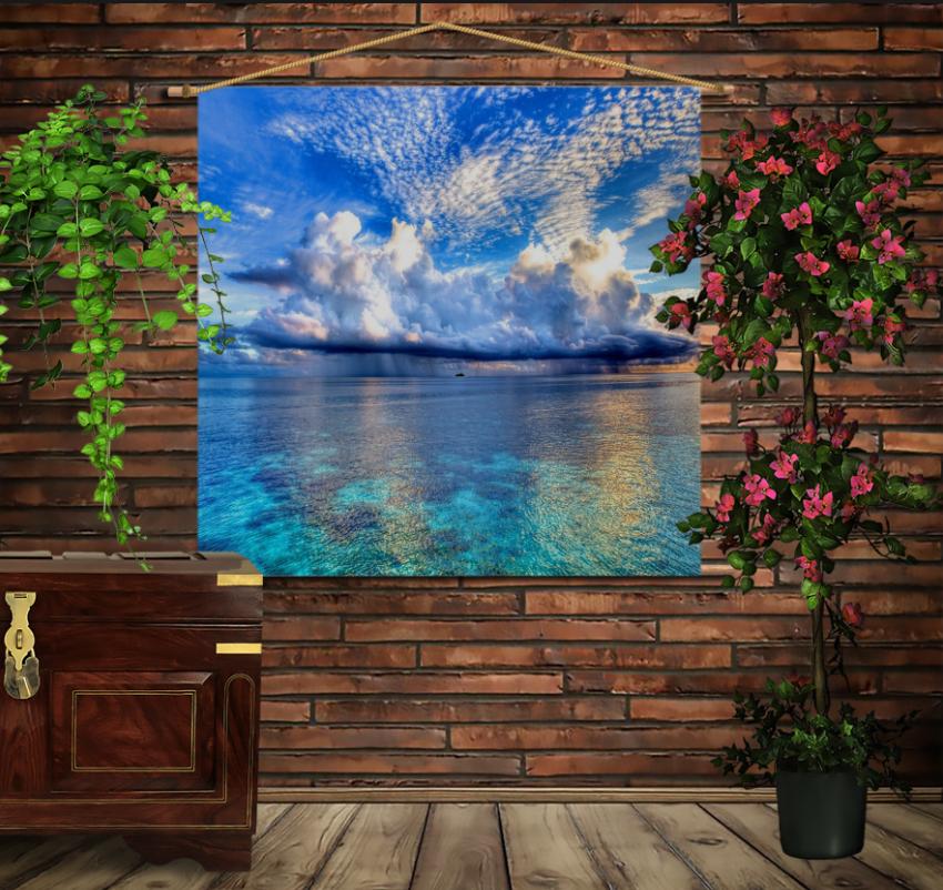 Мобільна картина-постер на тканині з 3D з принтом Пейзаж