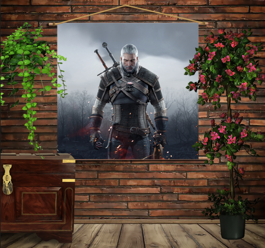 Мобільна картина-постер на тканині з 3D з принтом  WITCHER Game