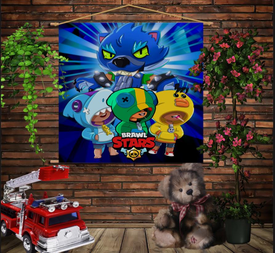 Мобільна картина-постер на тканині з 3D з принтом Бравл Старс 4 Леона Скіни Brawl Stars