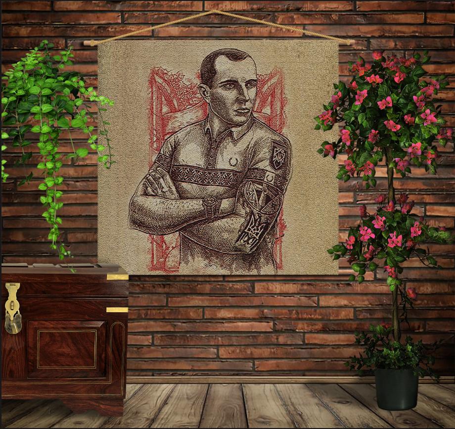 Мобільна картина-постер на тканині з 3D з принтом Степан Бандера