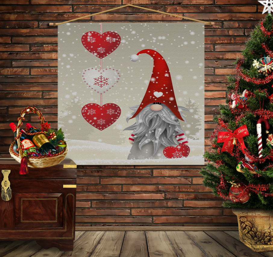 Мобільна картина-постер на тканині з 3D з принтом Різдвяний Гном