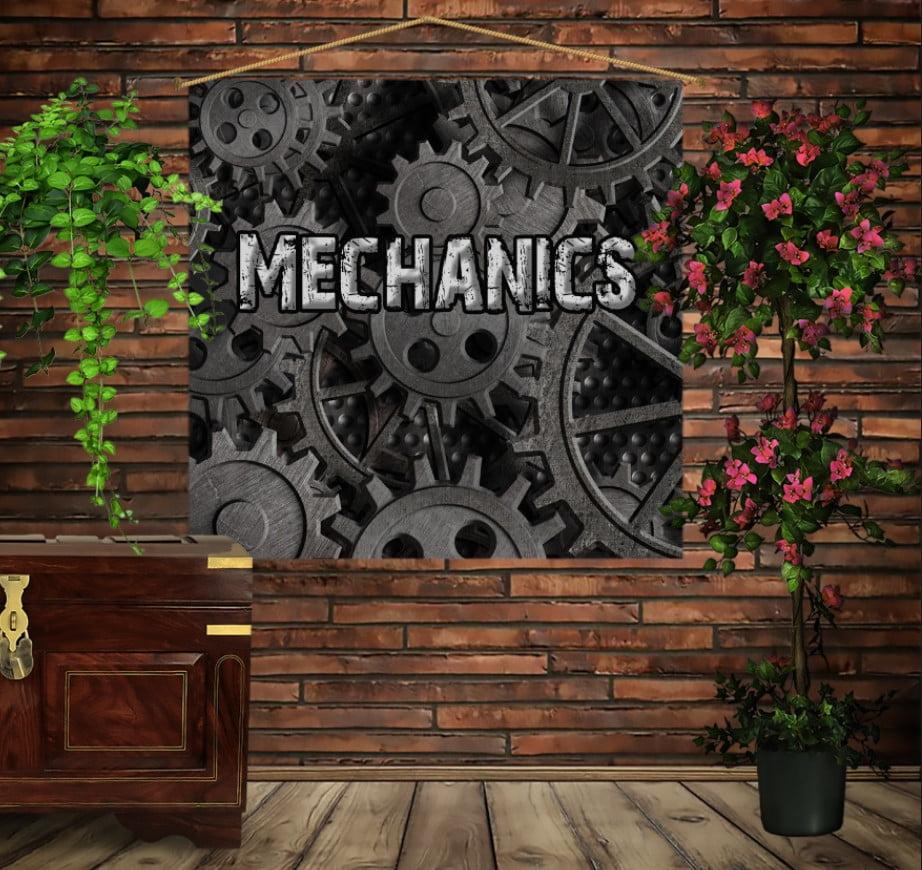 Мобільна картина-постер на тканині з 3D з принтом Дарк Стимпанк
