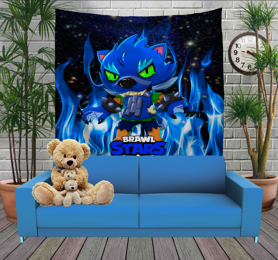 Панно з 3D з принтом Brawl Stars Leon Werewolf in blue fire