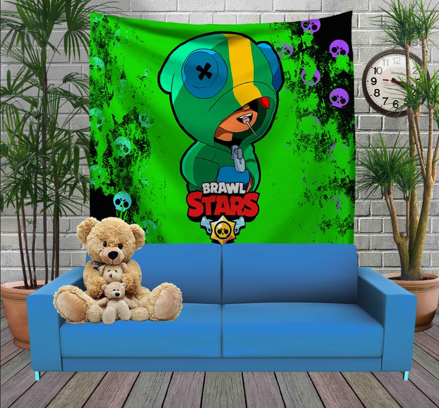 Панно з 3D з принтом Бравл Старс Леон Sculls Brawl Stars