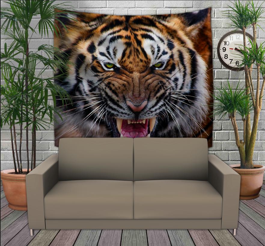 Панно з 3D з принтом Оскал Тигра