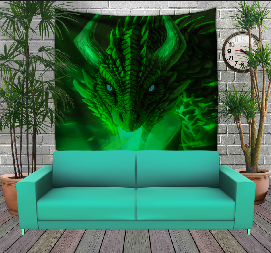 Панно з 3D з принтом Зелений Дракон