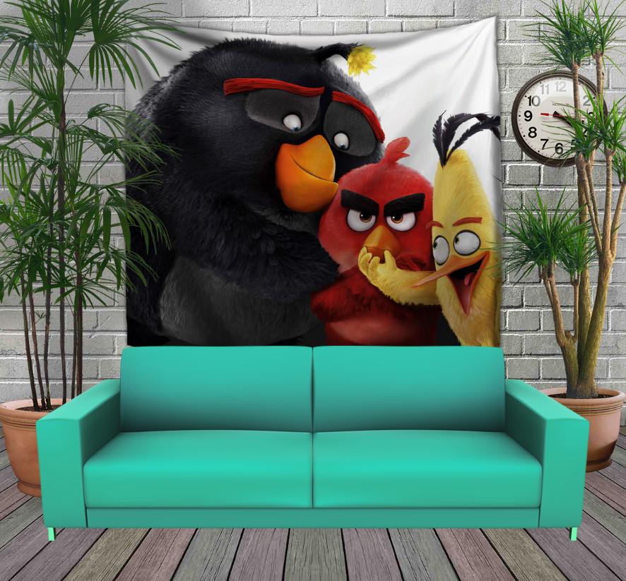 Панно з 3D з принтом  Angry Birds Friends