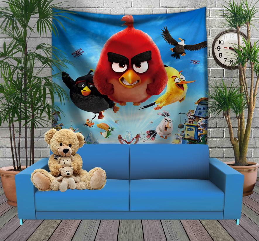 Панно з 3D з принтом  Angry Birds attack