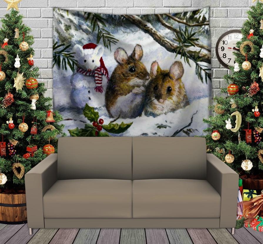 Панно з 3D з принтом Різдвяні мишки в лісі