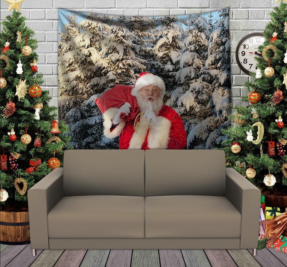 Панно з 3D з принтом Санта в лісі