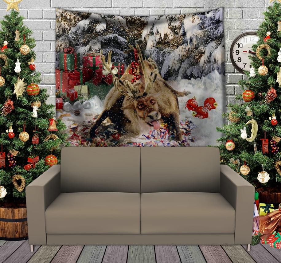 Панно з 3D з принтом Різдвяний олень Рудольф і цукерки