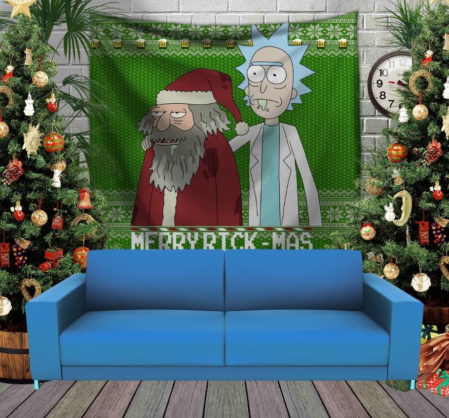 Панно з 3D з принтом Різдвяні Рік і Морті з пивом
