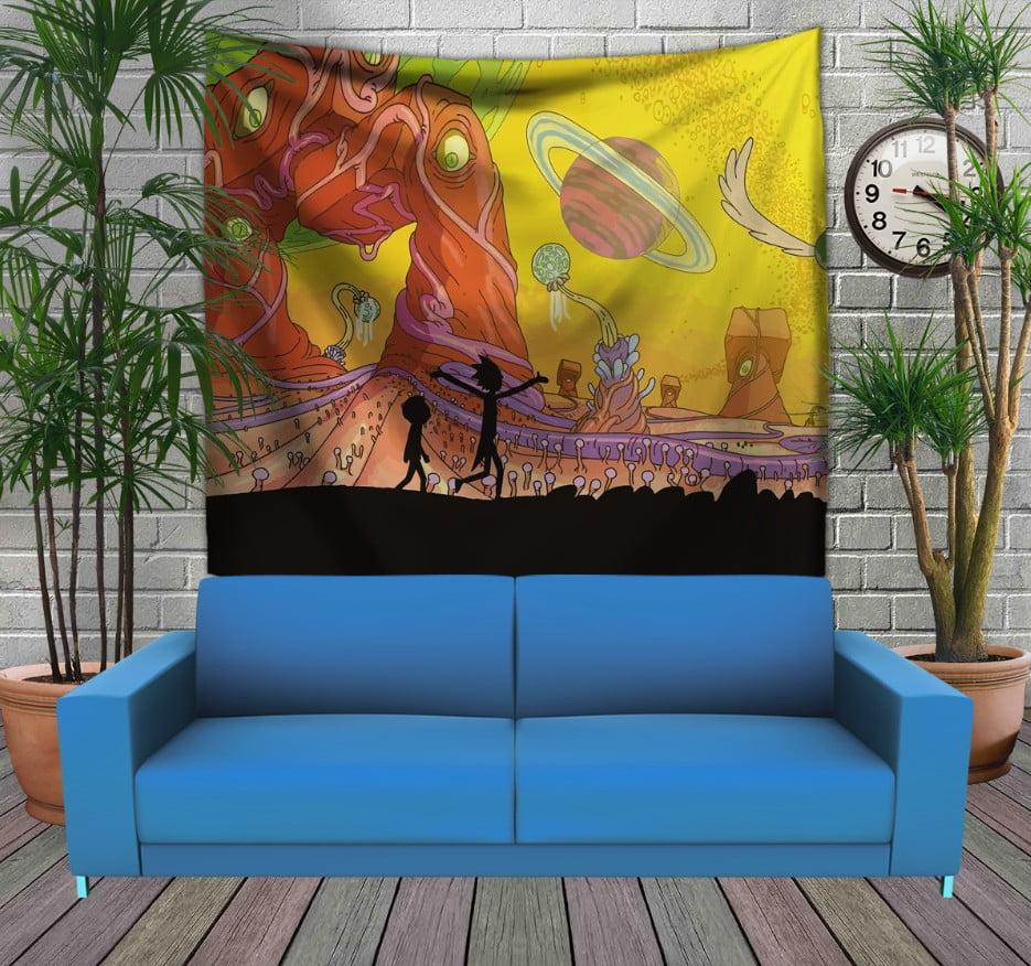 Панно з 3D з принтом Рік і Морті Жовтий космос