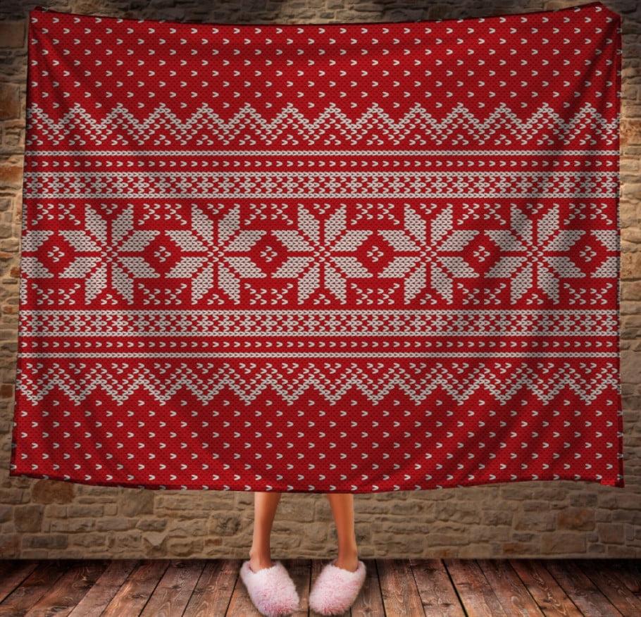 Плед з 3D принтом Різдвяні Сніжинки на червоному фоні