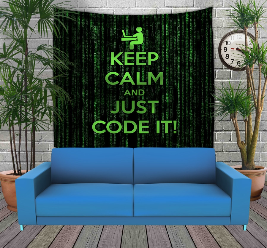 Панно з 3D з принтом Keep Calm and Just Code It
