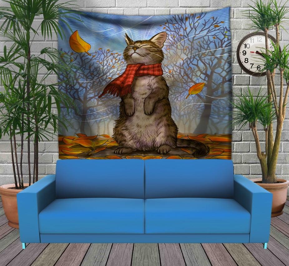 Панно з 3D з принтом Котик в шарфі