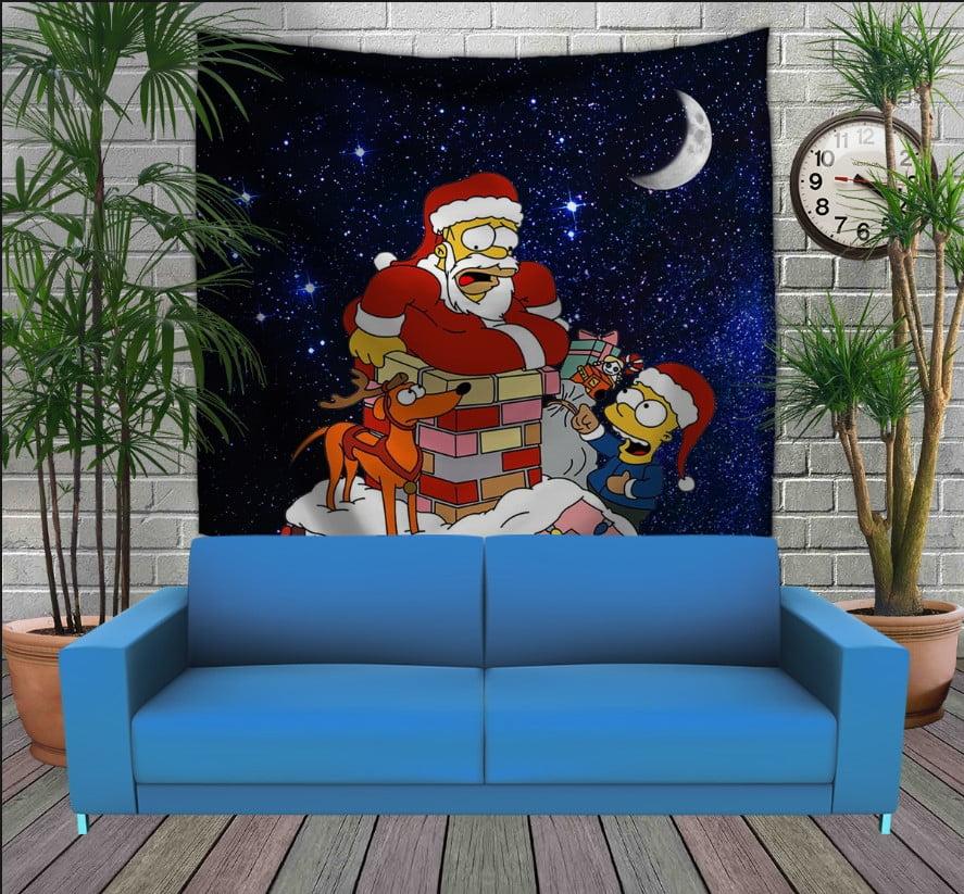 Панно з 3D з принтом Гомер Санта на даху