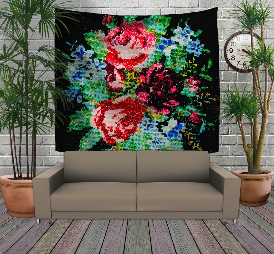 Панно з 3D з принтом -Бабусини квіти