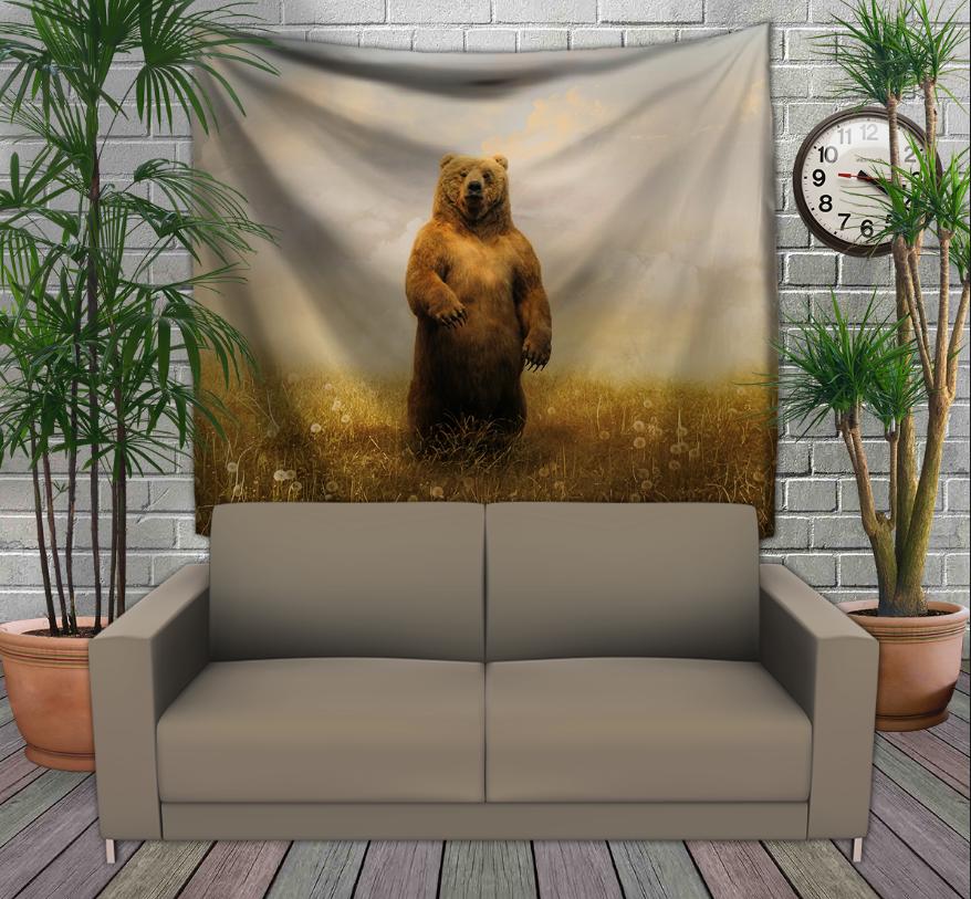 Панно з 3D з принтом -Ведмідь в полі