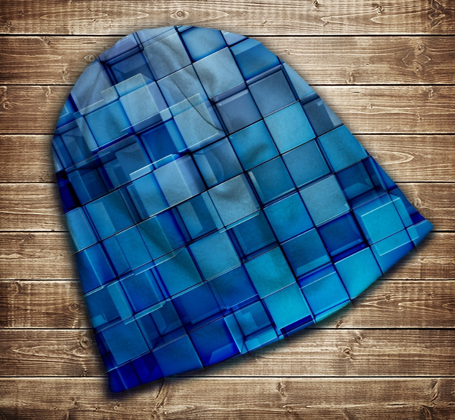 Шапка з 3D принтом -  Блакитні кубики Всі розміри