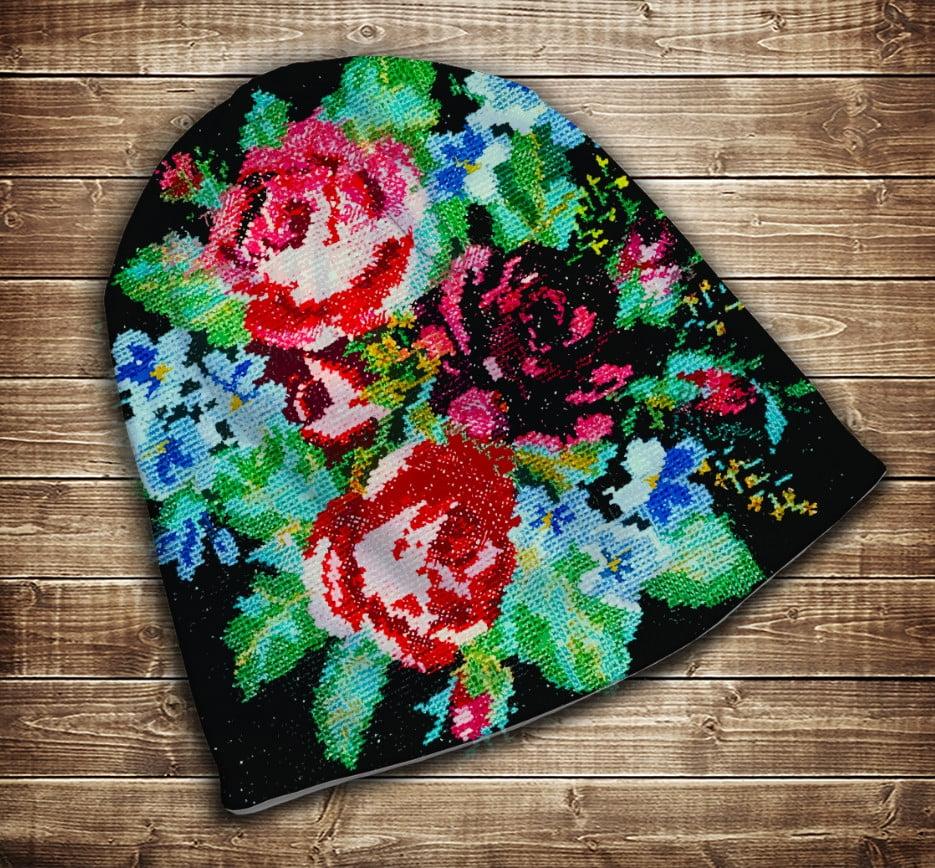 Шапка з 3D принтом -  Бабусини квіти Всі розміри