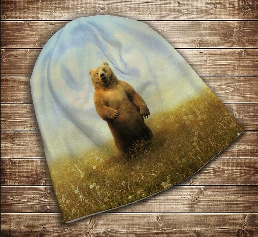 Шапка з 3D принтом - Ведмідь в полі Всі розміри
